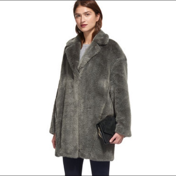 0541bf50d8 Whistles Jackets & Coats | Faux Fur Grey Cocoon Coat | Poshmark